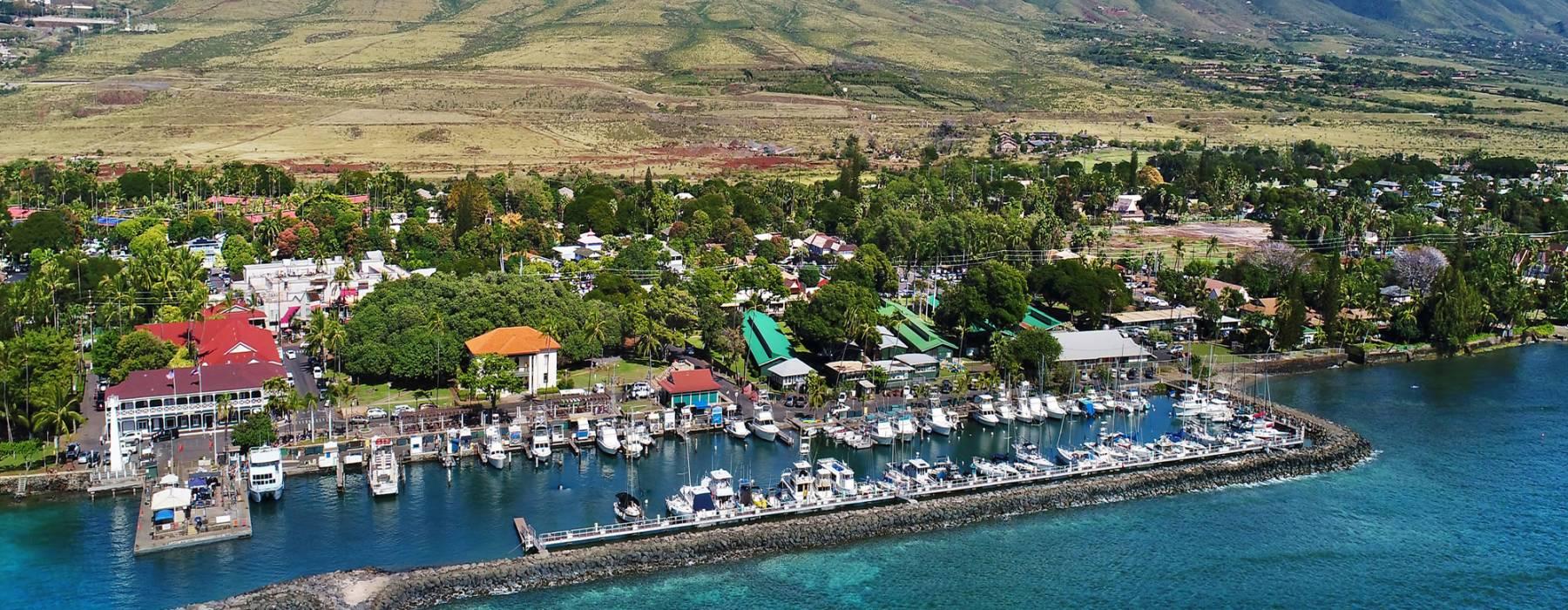 Lahaina Harbor and Lahaina Town on Maui Hawaii