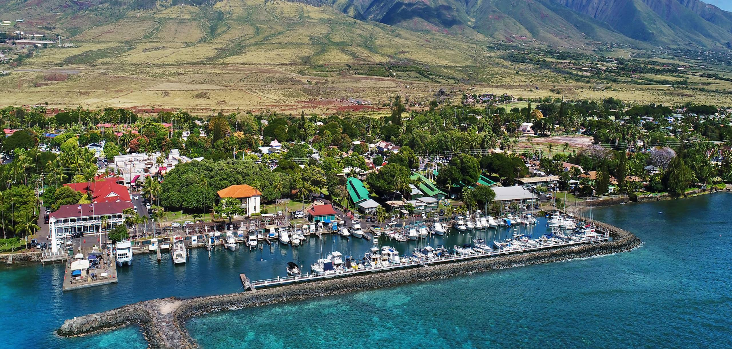 Lahaina Harbor and Lahaina Town on Maui Hawaii